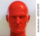 red mannequin dummy head ... | Shutterstock . vector #605313095