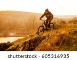 enduro cyclist riding the... | Shutterstock . vector #605316935