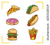 fastfood vector illustration ... | Shutterstock .eps vector #605318519