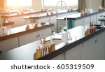 empty chemistry laboratory in a ... | Shutterstock . vector #605319509