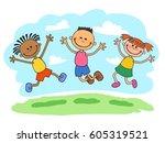 three kids boy and girls... | Shutterstock .eps vector #605319521