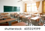empty classroom with chairs ... | Shutterstock . vector #605319599