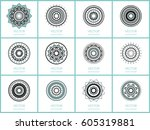 simple mandalas collection.... | Shutterstock .eps vector #605319881