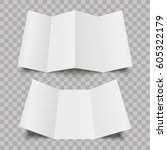 blank four and three folded... | Shutterstock .eps vector #605322179