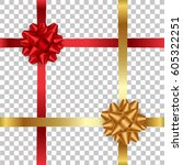 realistic red and gold bow with ... | Shutterstock .eps vector #605322251