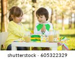 happy sweet preschool children  ... | Shutterstock . vector #605322329