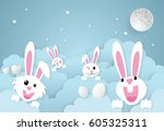 Stock vector easter day rabbit with cloud and sky paper art style 605325311