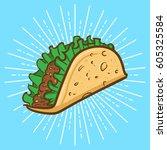 taco vector illustration | Shutterstock .eps vector #605325584