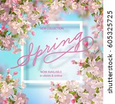 vector background with spring... | Shutterstock .eps vector #605325725