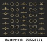 huge rosette wicker border... | Shutterstock .eps vector #605325881