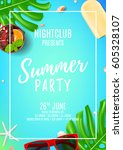 summer party flyer with place... | Shutterstock .eps vector #605328107