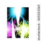 sparkler firework letter... | Shutterstock .eps vector #605331065