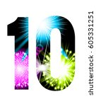 sparkler firework figure... | Shutterstock .eps vector #605331251