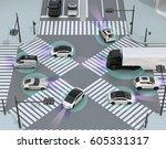 smooth traffic in crossroad....   Shutterstock . vector #605331317