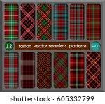 set in red tartan seamless... | Shutterstock .eps vector #605332799