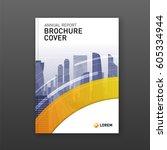 business brochure cover design... | Shutterstock .eps vector #605334944