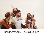 group of friends having fun...   Shutterstock . vector #605335475