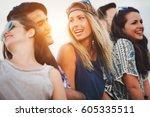 beautiful happy friends... | Shutterstock . vector #605335511