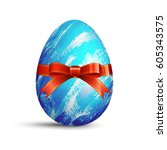 easter egg with bow | Shutterstock .eps vector #605343575