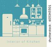 kitchen interior with white... | Shutterstock . vector #605345501