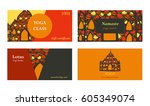 visit cards for yoga class or... | Shutterstock . vector #605349074