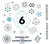sacred geometry and numerology... | Shutterstock .eps vector #605350934