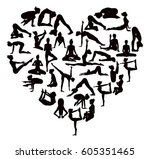 a heart shaped set of detailed... | Shutterstock .eps vector #605351465