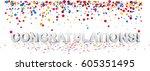 white congratulations 3d...   Shutterstock .eps vector #605351495