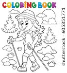 coloring book woman hiker theme ... | Shutterstock .eps vector #605351771