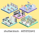 isometric interior shopping... | Shutterstock .eps vector #605352641