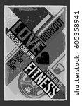 fitness typographic grunge... | Shutterstock .eps vector #605358941