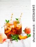 homemade iced lemonade with... | Shutterstock . vector #605364845