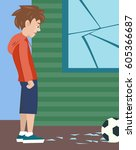 boy with ball and broken glass  ... | Shutterstock .eps vector #605366687