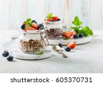 gluten free breakfast with red... | Shutterstock . vector #605370731
