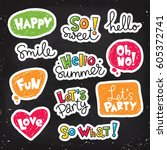 set of vector stickers  patches ... | Shutterstock .eps vector #605372741