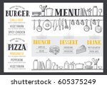 food menu for restaurant and... | Shutterstock .eps vector #605375249