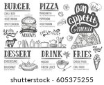 food menu for restaurant and... | Shutterstock .eps vector #605375255