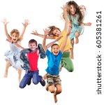 group of happy smiling children ... | Shutterstock . vector #605381261