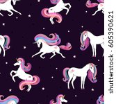 seamless pattern with beautiful ... | Shutterstock .eps vector #605390621