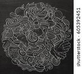 cartoon cute doodles hand drawn ...   Shutterstock .eps vector #605392451