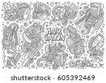 vector hand drawn doodle...   Shutterstock .eps vector #605392469
