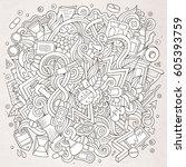 cartoon cute doodles hand drawn ... | Shutterstock .eps vector #605393759