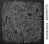 cartoon cute doodles hand drawn ...   Shutterstock .eps vector #605393771