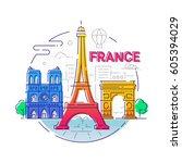france   modern vector line... | Shutterstock .eps vector #605394029