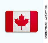 national flag of canada with... | Shutterstock .eps vector #605394701