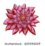hand drawn and sketch lotus... | Shutterstock .eps vector #605396039