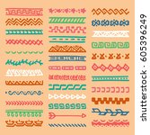collection of hand drawn... | Shutterstock .eps vector #605396249