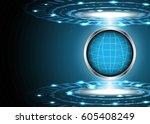 abstract technology digital... | Shutterstock .eps vector #605408249