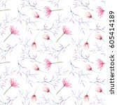 seamless floral pattern with... | Shutterstock . vector #605414189