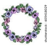 frame of vintage botanical... | Shutterstock .eps vector #605418029